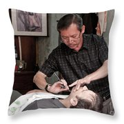 The Barber Shaves Another Customer 02 Throw Pillow