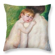 The Bare Back Throw Pillow by Mary Cassatt Stevenson