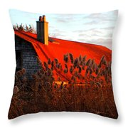 The Barn  At Sunset Throw Pillow