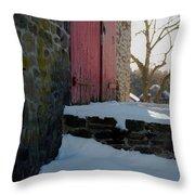 The Barn Doors Throw Pillow