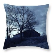 The Barn In Blue Throw Pillow