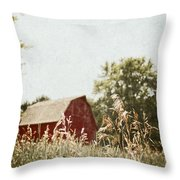 The Barn In The Distance Throw Pillow