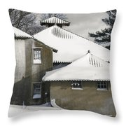The Barns At Castle Hill After The Snow Throw Pillow