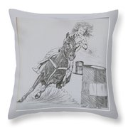 The Barrel Racer Throw Pillow