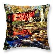 The Bartram Coverd Bridge Throw Pillow