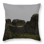 The Battered Remains Of The Urquhart Castle In Scotland Throw Pillow