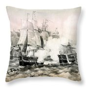 The Battle Of Lake Erie - 1878 Throw Pillow