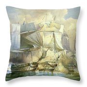 The Battle Of Trafalgar Throw Pillow