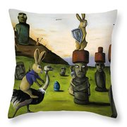 The Battle Over Easter Island Throw Pillow by Leah Saulnier The Painting Maniac