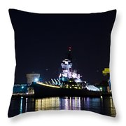 The Battleship New Jersey At Night Throw Pillow