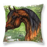 The Bay Arabian Horse 1 Throw Pillow