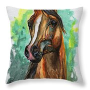 The Bay Arabian Horse 2 Throw Pillow