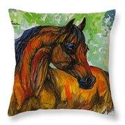 The Bay Arabian Horse 3 Throw Pillow