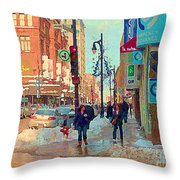 The Bay Department Store Downtown Montreal University And St Catherine Winter City Scene C Spandau  Throw Pillow