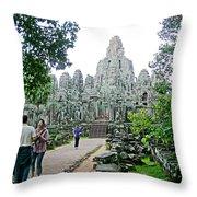 The Bayon In Angkor Thom In Angkor Wat Archeological Park-cambodia Throw Pillow
