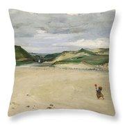 The Beach At Ambleteuse, 1869 Oil On Canvas Throw Pillow