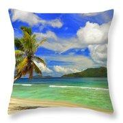 The Beach At Anse Gaulettes Throw Pillow