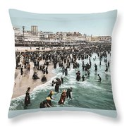 The Beach At Atlantic City 1902 Throw Pillow