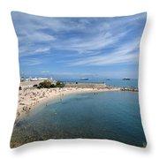 The Beach At Cap D' Antibes Throw Pillow