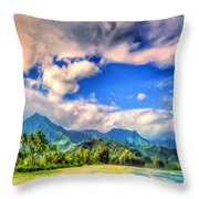 The Beach At Hanalei Bay Kauai Throw Pillow