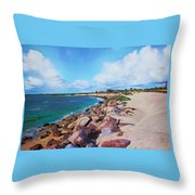 The Beach At Ponce Inlet Throw Pillow by Deborah Boyd