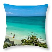 The Beach At The Tulum Ruins Throw Pillow