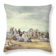 The Beach At Trouville, 1873 Throw Pillow