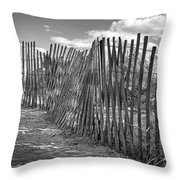 The Beach Fence Throw Pillow by Scott Norris
