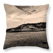The Beach In Sepia Throw Pillow