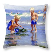 The Beach Pail Throw Pillow