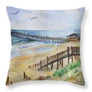 Nags Head Fishing Pier Throw Pillow