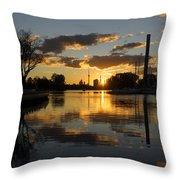The Beaches Marina At Sunset Throw Pillow