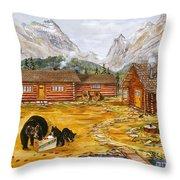 The Bear's Picnic Throw Pillow