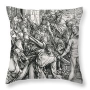 The Bearing Of The Cross From The 'great Passion' Series Throw Pillow by Albrecht Duerer