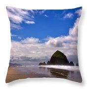 The Beautiful Cannon Beach Oregon Throw Pillow by David Patterson