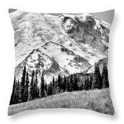 The Beautiful Mount Rainier At Sunrise Park - Washington State Throw Pillow