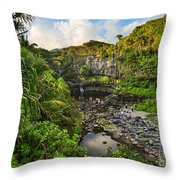 The Beautiful Scene Of The Seven Sacred Pools Of Maui. Throw Pillow