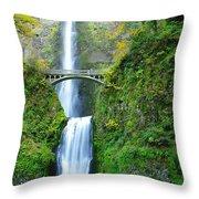 The Beauty Of Multnomah Falls Throw Pillow