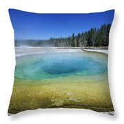 The Beauty Pool Yellowstone Np Wyoming Throw Pillow