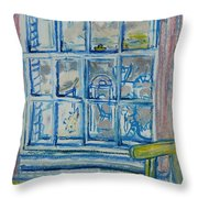 The Bedroom Window Oil & Pastel On Paper Throw Pillow