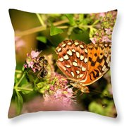The Bee And The Butterfly Throw Pillow