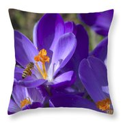 The Bee And The Crocus Throw Pillow