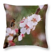 The Bee In The Cherry Tree Throw Pillow