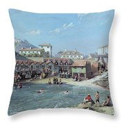 The Beginning Of Sea Swimming In The Old Port Of Biarritz  Throw Pillow