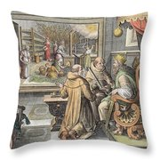 The Beginning Of The Silk Industry Throw Pillow