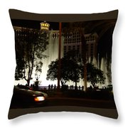 The Bellagio At Night Throw Pillow