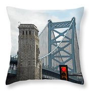 The Ben Franklin Bridge Throw Pillow