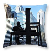 The Ben Franklin Printing Press Statue Throw Pillow