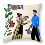 The Betrothal-folk Art Throw Pillow