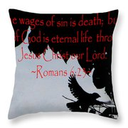 The Bible Eternal Life  Romans Throw Pillow